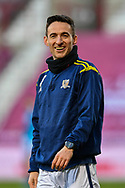Kevin Cawley (#7) of Alloa Athletic FC is all smiles during the warm up before the SPFL Championship match between Heart of Midlothian FC and Alloa Athletic FC at Tynecastle Park, Edinburgh, Scotland on 9 April 2021.
