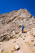 Hiker exploring the Cottonwood Lakes Basin, John Muir Wilderness, California USA