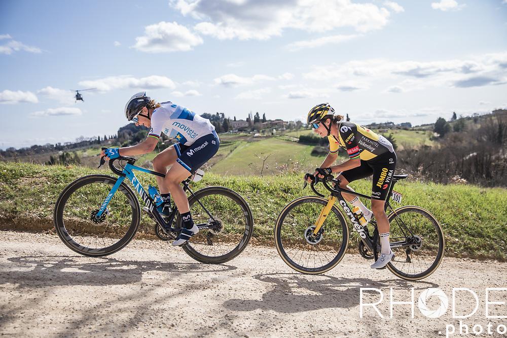 Two legends on the white roads of Tuscany. Annemiek Van Vleuten (NED/Movistar), Marianne Vos (NED/Jumbo Visma)<br /> <br /> 7th Strade Bianche Women Elite <br /> Siena > Siena 136km<br /> <br /> ©RhodePhoto