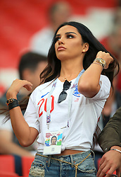 Ruby Mae, girlfirend of England's Dele Alli in the stands ahead of the FIFA World Cup 2018, round of 16 match at the Spartak Stadium, Moscow.