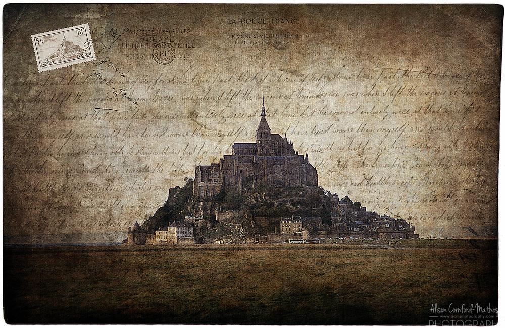 Mont Saint Michel, France - Forgotten Postcard digital art European Travel collage