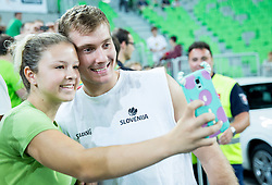 Zoran Dragic of Slovenia with fans prior to the friendly basketball match between National Teams of Slovenia and Brasil at Day 2 of Telemach Tournament on August 22, 2014 in Arena Stozice, Ljubljana, Slovenia. Photo by Vid Ponikvar / Sportida