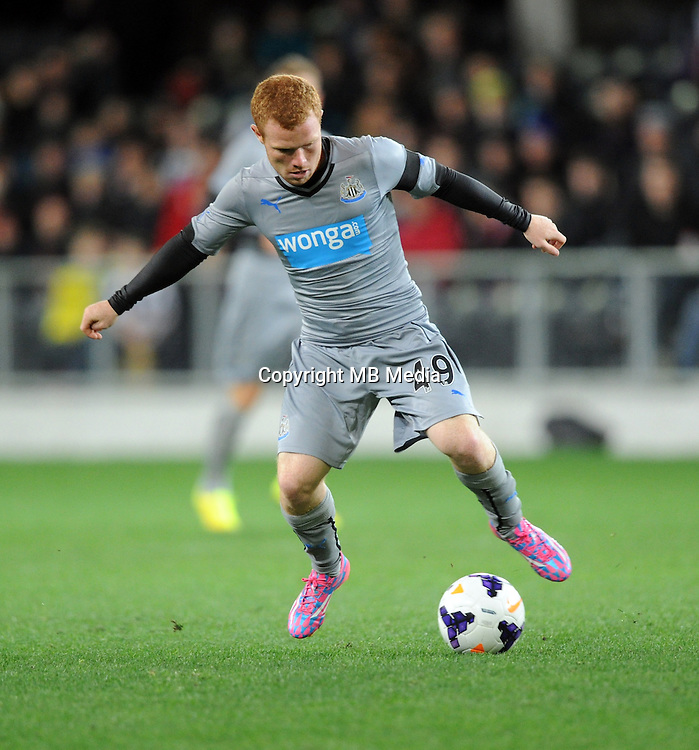 Newcastle United's Adam Campbell against Sydney FC in the first match of the Football United Tour at Forsyth Barr Stadium, Dunedin, New Zealand, Tuesday, July 22, 2014.