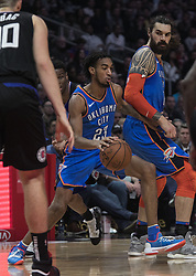 March 8, 2019 - Los Angeles, California, United States of America - Terrance Ferguson #23 of the Oklahoma Thunder with the ball during their NBA game with the Los Angeles Clippers on Friday March 8, 2019 at the Staples Center in Los Angeles, California. Clippers defeat Thunder, 118-110.  JAVIER ROJAS/PI (Credit Image: © Prensa Internacional via ZUMA Wire)