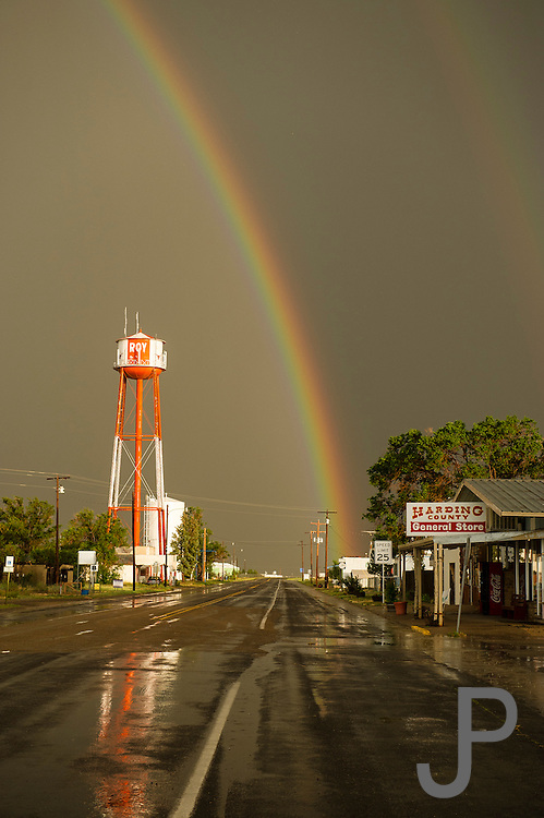 A summer thunderstorm left the roads wet in Roy, New Mexico