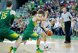 Raul Neto of Brasil vs Jaka Klobucar of Slovenia during friendly basketball match between National Teams of Slovenia and Brasil at Day 2 of Telemach Tournament on August 22, 2014 in Arena Stozice, Ljubljana, Slovenia. Photo by Vid Ponikvar / Sportida
