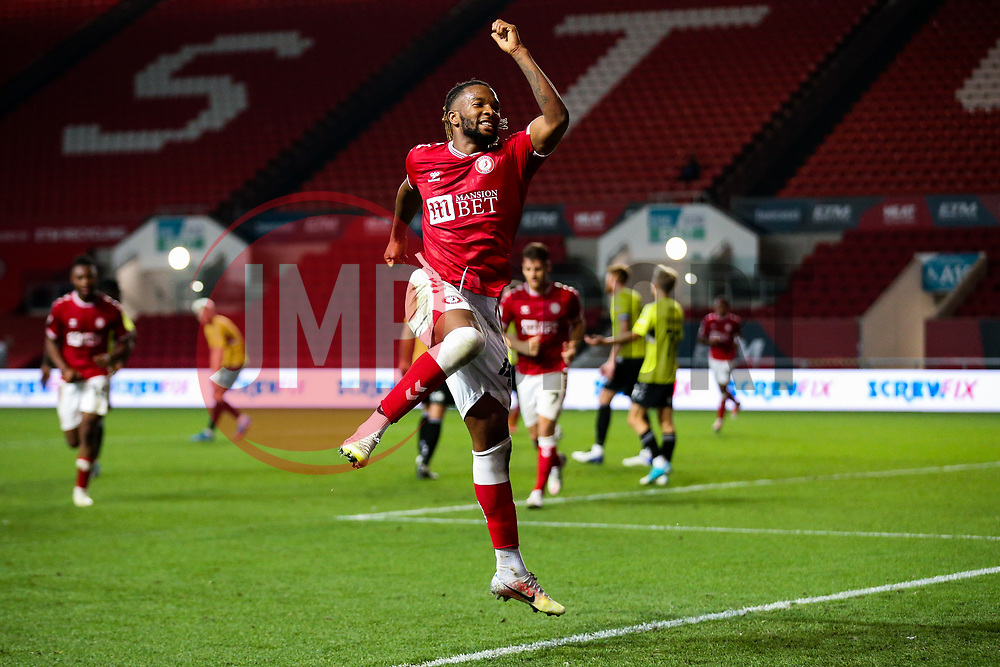 Kasey Palmer of Bristol City celebrates scoring his 2nd goal of the night to make it 4-0 - Rogan/JMP - 16/09/2020 - Ashton Gate Stadium - Bristol, England - Bristol City v Northampton Town - Carabao Cup Second Round.