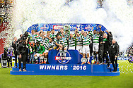 Celtic players celebrate winning the Betfred Cup defeating Aberdeen 3-0 in the Scottish Cup final match between Aberdeen and Celtic at Hampden Park, Glasgow, United Kingdom on 27 November 2016. Photo by Craig Doyle.