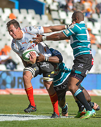 Henco Venter of the Free State Cheetahs and Ederies Arendse of the Griquas  during the Currie Cup Premier division match between the The Free State Cheetahs and Griquas held at Toyota Stadium (Free State Stadium), Bloemfontein, South Africa on the 1st October 2016<br /> <br /> Photo by:   Frikkie Kapp / Real Time Images