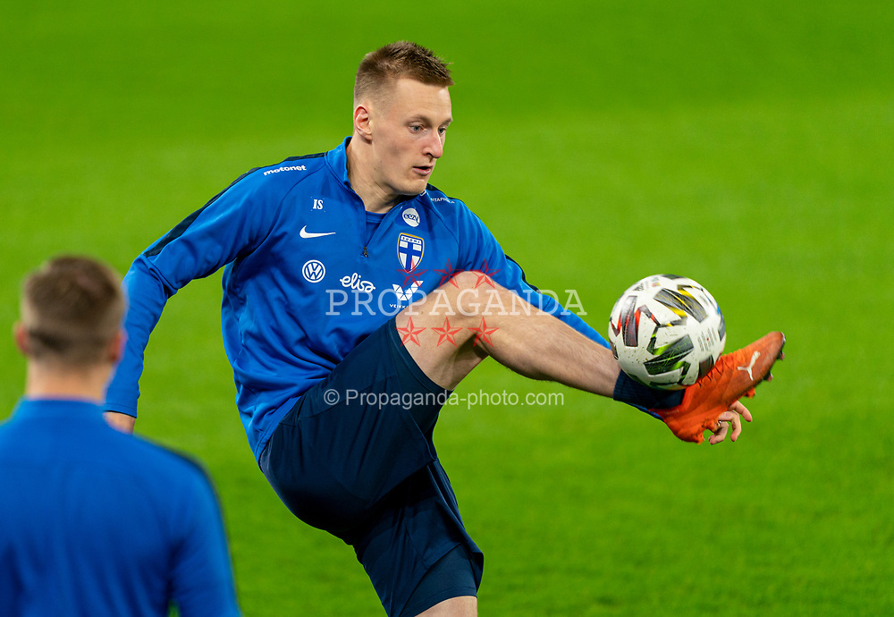 CARDIFF, WALES - Tuesday, November 17, 2020: Finland's Rasmus Karjalainen during a training session at the Cardiff City Stadium ahead of the UEFA Nations League Group Stage League B Group 4 match between Wales and Finland. (Pic by David Rawcliffe/Propaganda)