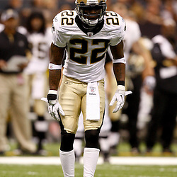 August 21, 2010; New Orleans, LA, USA; New Orleans Saints cornerback Tracy Porter (22) lines up for a play during the first quarter of a preseason game against the Houston Texans at the Louisiana Superdome. Mandatory Credit: Derick E. Hingle