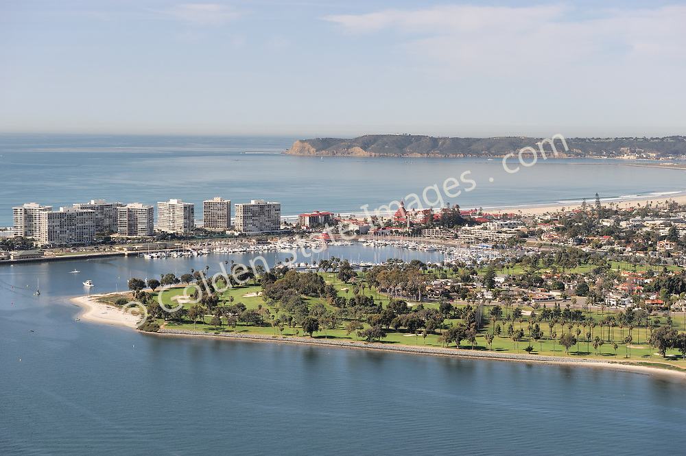 Aerial Photo taken from downtown San Diego of Coronado Cays and the Hotel Del with Point Loma in the distance.