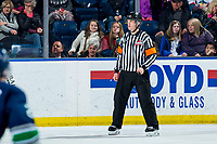 KELOWNA, BC - MARCH 6: Referee Bryan Bourdon stands on the ice at the Kelowna Rockets against the Seattle Thunderbirds at Prospera Place on March 6, 2020 in Kelowna, Canada. (Photo by Marissa Baecker/Shoot the Breeze)