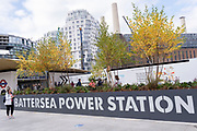 Members of the public are the first to use 'Battersea Power Station' station, a new 3km twin-tunnel railway service extension on the Northern Line from Kennington to Battersea via Nine Elms and which finished on schedule during the Covid pandemic, on 20th September 2021, in London, England. Battersea Power Station is a fast-growing residential development of new apartment complexes where Gilbert Scott's coal-fired power station fuelled the capital from 1929-1975.