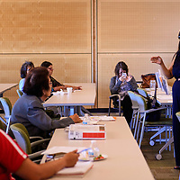 Ernestine Chaco, a law clerk with the Southwest Law Center in Albuquerque leads a forum on Native Women's Equal Pay Day Thursday, Sept. 27, 2018 at University of New Mexico-Gallup.