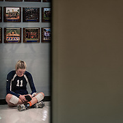Orange Coast College Volleyball's Kellie Kleszcz mentally prepares for her game against Golden West College in Costa Mesa, CA on Nov 7, 2014.