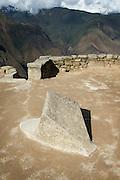 Compass Stone. Points perfectly to North and South, Machu Picchu, Cusco Region, Urubamba Province, Machupicchu District in Peru, South America