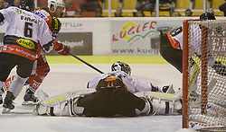02.10.2014, Stadthalle, Klagenfurt, AUT, EBEL, EC KAC vs Dornbirner Eishockey Club, 7. Runde, im Bild Jonathan D'Aversa (Dornbirner Eishockey Club, #), Jamie Lundmark (EC KAC, #74), David Madlaner (Dornbirner Eishockey Club, #31), Justin DiBenedetto (Dornbirner Eishockey Club, #19) // during the Erste Bank Icehockey League 7th round match betweeen EC KAC and Dornbirner Eishockey Club at the City Hall in Klagenfurt, Austria on 2014/10/02. EXPA Pictures © 2014, PhotoCredit: EXPA/ Gert Steinthaler