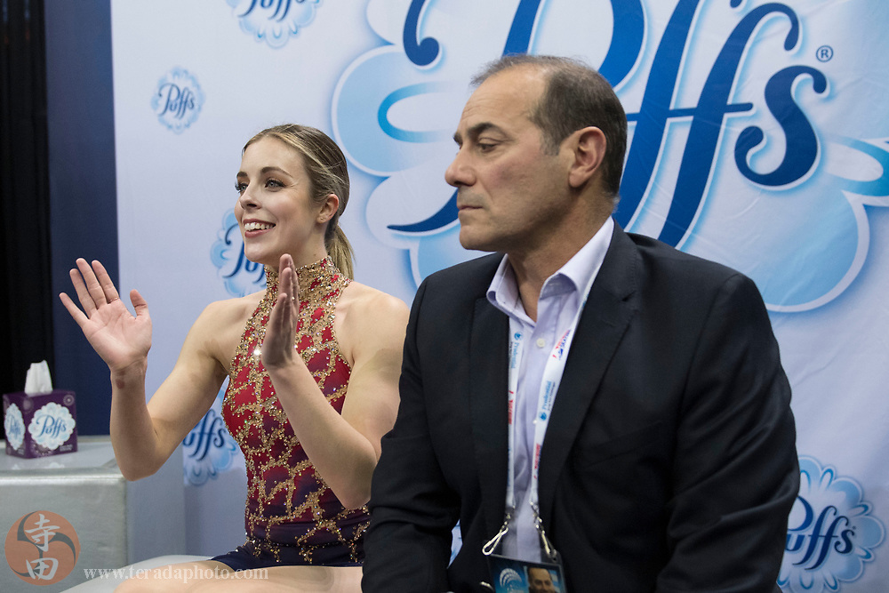 January 3, 2018; San Jose, CA, USA; Ashley Wagner smiles in the kiss and cry in the ladies short program during the 2018 U.S. Figure Skating Championships at SAP Center.