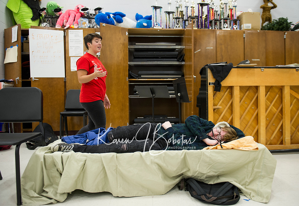 """""""Mistress Ford"""" A. LaDue practices through a scene with """"Shakespeare"""" M. Maas-Kisiel for the upcoming production of """"While Shakespeare Slept"""" at Belmont High School.  (Karen Bobotas/for the Laconia Daily Sun)"""