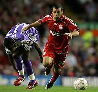 Photo: Paul Thomas.<br /> Liverpool v Toulouse. UEFA Champions League Qualifying. 28/08/2007.<br /> <br /> Javier Mascherano (R) of Liverpool gets away from Fabio Alves Felix.