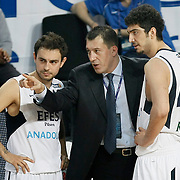 Efes Pilsen's coach Ufuk SARICA (C) and Ender ASLAN (L), Ali ISIK (R) during their Turkish Basketball league match Efes Pilsen between Olin Edirne at the Sinan Erdem Arena in Istanbul Turkey on Friday 06 May 2011. Photo by TURKPIX