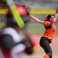 040715       Cable Hoover<br /> <br /> Gallup Bengal Kianna Spencer (11) pitches to the Grants Pirates Tuesday in Gallup.