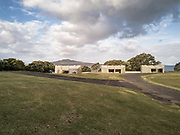 Defence ruins from WW II at Devonport Domain, Auckland, with Rangitoto island in the background.