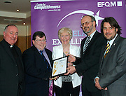 Fr Kevin Keenan, Richard Regan and Teresa Sweeney of Roscommon Citizen Information Centre receive their award from Tony McQuinn chief executive CIB and Matt Fisher COO, EFQM at the EFQM Ireland Excellence Awards ceremony in association with Fáilte Ireland and the Centre for Competitiveness at the Galway Bay Hotel on Friday night. Photo:- Andrew Downes Photography / No Fee