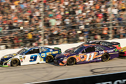 October 7, 2018 - Dover, DE, U.S. - DOVER, DE - OCTOBER 07: Chase Elliott driver of the #9 NAPA Auto Parts Chevrolet leads the field to a green, white, checkered finish in the Gander Outdoors 400 on October 07, 2018, at Dover International Speedway in Dover, DE. (Photo by David Hahn/Icon Sportswire) (Credit Image: © David Hahn/Icon SMI via ZUMA Press)