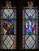 Stained glass window in church of Saint Mary, Maddington, Wiltshire, England, UK
