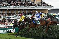 National Hunt Horse Racing - 2019 Randox Health Grand National Festival - Friday, Day Two (Ladies Day)<br /> <br /> Winner P Townend  on Cadmium jumps the Water Jump behind Nico de Boinville on OO Seven  <br /> the 16:05 Randox Health Topham Handicap Chase (Grade 3) (National Course)) at Aintree Racecourse.<br /> <br /> COLORSPORT/WINSTON BYNORTH