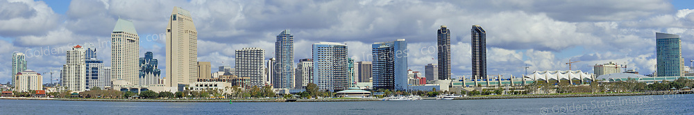 San Diego skyline with dramatic cloud formations, taken from the southwest. Panoramic available up to 14638x2431 pixels.