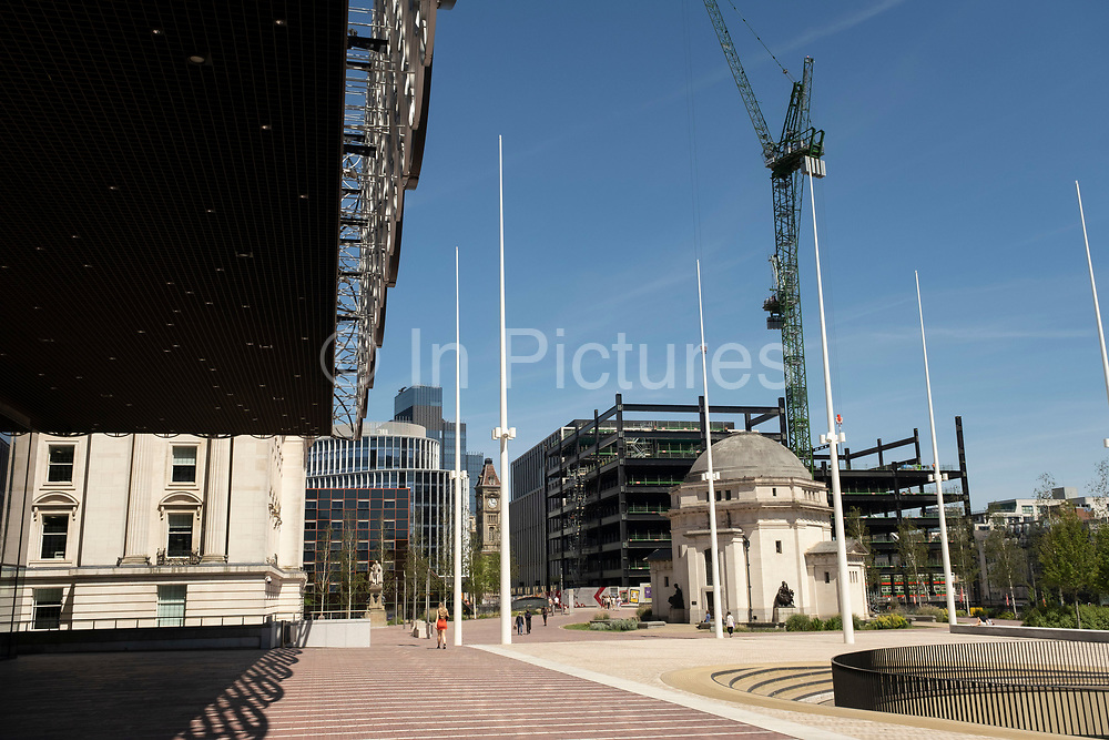 Steel frame of a new building under construction, at Centenary Square, as part of the redevelopment of the Paradise area on 15th June 2021 in Birmingham, United Kingdom. Paradise, formerly Paradise Circus, is the name given to an area of approximately 7 hectares in Birmingham city centre between Chamberlain and Centenary Squares. The area has been part of the civic centre of Birmingham since the 19th century. From 2015 Argent Group will redevelop the area into new mixed use buildings and public squares.