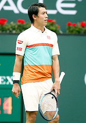March 10, 2019 - Indian Wells, CA, U.S. - INDIAN WELLS, CA - MARCH 10: Kei Nishikori (JPN) reacts after a call during the second round of the BNP Paribas Open on March 10, 2019, at the Indian Wells Tennis Gardens in Indian Wells, CA. (Photo by Adam Davis/Icon Sportswire) (Credit Image: © Adam Davis/Icon SMI via ZUMA Press)