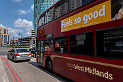 A bus passes with an advertising message appropriate for the day in the city centre on the long awaited freedom day when all remaining coronavirus restrictions are lifted in the UK on 19th July 2021 in Birmingham, United Kingdom. While many people are wearing face masks, they are no longer mandatory, while government advice suggests that it is advised to wear a face covering in busy public places inside and on transport.