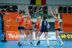 Team NL celebrate during the Women's friendly match between Netherlands and Belgium at Sporthal De Basis on may 19, 2021 in Sliedrecht, Netherlands (Photo by RHF Agency/Ronald Hoogendoorn)