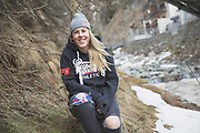 Freestyle female skier Katie Summerhayes on 04th May 2017 in Silvaplana, Switzerland. Silvaplana is a municipality in the Maloja Region in the Swiss canton of Graubünden and the name of a lake in the municipality. Its popular alpine sports destination.