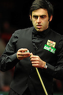 Ronnie O'Sullivan  in action during his 1st round match against Marco Fu. 888 Welsh open snooker day 3 action at the Newport Centre in Newport , South Wales on Wed 15th Feb 2012.  pic by Andrew Orchard, Andrew Orchard sports photography,