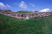 Walls of Roman mile castle Cawfields crag, Hadrian's Wall, Northumberland, England