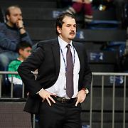 Erdemir's coach Ahmet Arif Caki during their Turkish Basketball League match Anadolu Efes between Erdemir at Arena in Istanbul, Turkey, Wednesday, January 28, 2012. Photo by TURKPIX