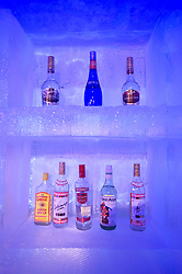 Detail of bottles of alcohol inside Ice Bar at a hotel in Harbin China during the annual Ice Sculpture Festival 2009