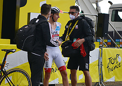 Meribel Savoie in 16/09/2020 : The surprise triumph of Tadej Pogacar; who dominated the 20th stage; a 36 km time trial that ended on Saturday at the top of La Planche des Belles Filles. Here in a photo Pogacar arrived in angry Meribel by the 2nd place//ALLILIMOURAD_1139012/2009201144/Credit:ALLILI MOURAD/SIPA/2009201144 / Sportida