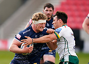 Sale Sharks Ross Harrison leads with his arm into London Irish Nick Phipps earning him a yellow card during a Gallagher Premiership Round 14 Rugby Union match, Sunday, Mar 21, 2021, in Eccles, United Kingdom. (Steve Flynn/Image of Sport)
