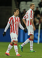 Football - 2016 / 2017 Premier League - West Ham United vs. Stoke City<br /> <br /> Bojan Krkic of Stoke City with Peter Crouch at The London Stadium.<br /> <br /> COLORSPORT/DANIEL BEARHAM