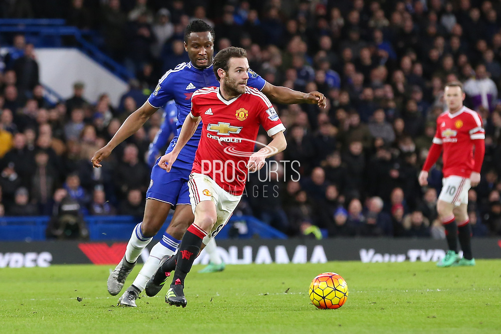 Juan Mata of Manchester United on the ball during the Barclays Premier League match between Chelsea and Manchester United at Stamford Bridge, London, England on 7 February 2016. Photo by Phil Duncan.