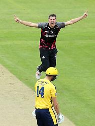 Jamie Overton of Somerset celebrates taking the wicket of James Vince of Hampshire - Mandatory by-line: Robbie Stephenson/JMP - 19/06/2016 - CRICKET - Cooper Associates County Ground - Taugnton, United Kingdom - Somerset v Hampshire - NatWest T20 Blast