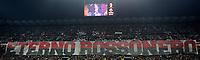 """Striscione in ricordo di Cesare Maldini sul tabellone di San Siro. A big banner for Cesare Maldini """"forever red and black """" <br /> Milano 09-04-2016 Stadio Giuseppe Meazza - Football Calcio Serie A Milan - Juventus. Foto Giuseppe Celeste / Insidefoto"""