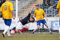 Falkirk's Sean Higgins tackled by Cowdenbeath's David Cowan..Falkirk 4 v 0 Cowdenbeath, 6/4/2013..©Michael Schofield..