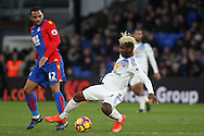 Didier Ndong of Sunderland (R) in action with Jason Puncheon of Crystal Palace (L). Premier League match, Crystal Palace v Sunderland at Selhurst Park in London on Saturday 4th February 2017. pic by Steffan Bowen, Andrew Orchard sports photography.